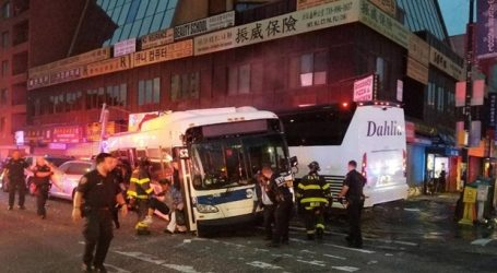 Three dead when buses collide at NYC intersection