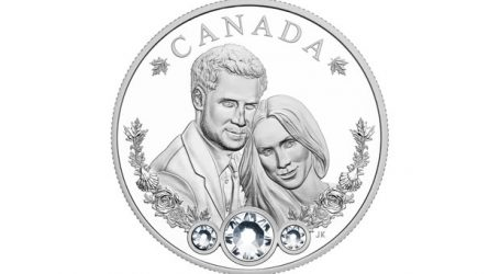 Commemorative royal wedding coin features crystals, maple leaves