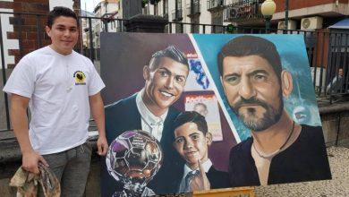 Photo of Pintura que junta Cristiano Ronaldo, 'Cristianinho' e Dinis Aveiro está terminada