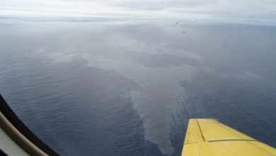 Photo of 12,000 L of oil spilled into ocean off Newfoundland, causing oil rig shutdown