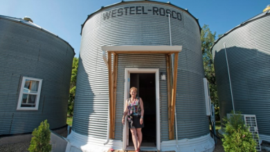 Photo of Saskatchewan farmers convert old grain bins into unlikely tourist cabins