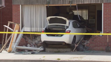 Photo of 2 males in custody after car smashes into Etobicoke home