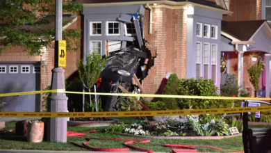 Photo of 1 taken to hospital after car slams into house in Mississauga
