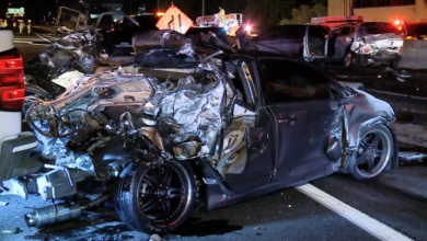 Photo of Woman found dead in car crushed beneath transport truck in fiery QEW crash