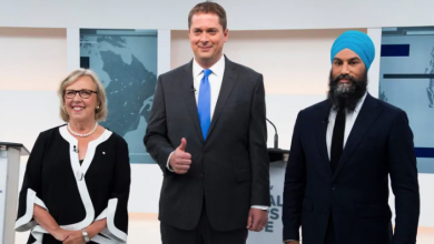 Photo of Scheer, Singh and May debate China, Indigenous issues and an absent Trudeau