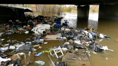 Photo of Winnipeg homeless community displaced by rising water levels
