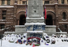 Photo of Police arrest man who allegedly vandalized cenotaph at Old City Hall