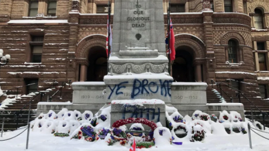 Photo of Toronto cenotaph vandalized with spray paint