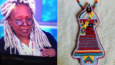 Photo of Sagkeeng First Nation beader's work ends up on Whoopi Goldberg's neck