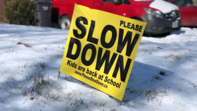 Photo of Residents displaying 'Slow Down' signs in Brampton didn't break bylaws, law firm says