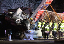Photo of Allegedly stolen tractor trailer causes deadly crash, smashes into gas station