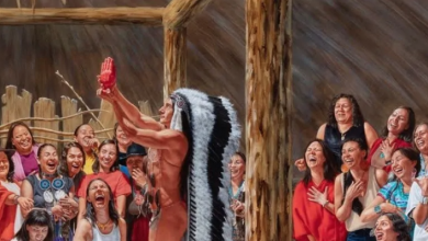 Photo of Artist Kent Monkman's painting of partially nude Trudeau with laughing women creates uproar online