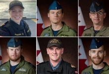 Photo of Canadian service members killed in helicopter crash being honoured at CFB Trenton ceremony