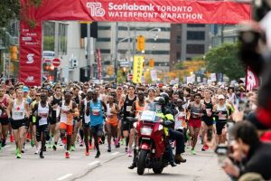 Runners at the starting line of the 2019 Scotiabank Toronto Waterfront Marathon on Sunday, Oct., 20, 2019-Milenio Stadium-Toronto