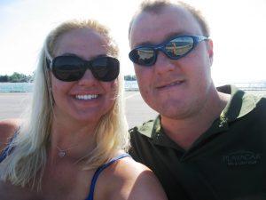 Carly Aubertin, left, and Rob McLean, right-Milenio Stadium-Canada