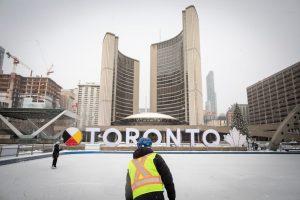 People skate near the Toronto sign-Milenio Stadium-Ontario