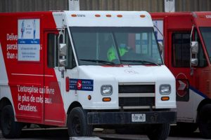 A Canada Post truck is parked outside its Gateway East facility-Milenio Stadium-Ontario