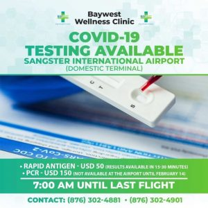 A flyer advertising new tests available for tourists in Jamaica-Milenio Stadium-Canada