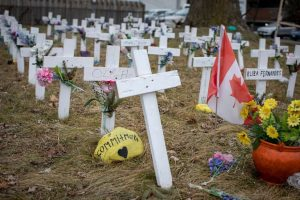 Crosses representing resident who died of COVID-19-Milenio Stadium-Canada