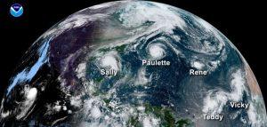 This satellite image shows five hurricanes-Milenio Stadium-Canada